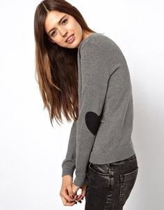 asos; asos sweater with heart elbow patches