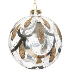 GRAND SIÈCLE glass bauble with scale motif 8 cm   - Sold in sets of 6
