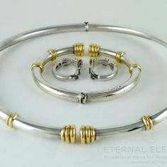 ilias LALAoUNIS 925 Silver and 18K Gold Set - Choker Necklace, Bracelet and Clip On Earrings #handmade #choker #necklace #bracelet #earrings #jewelry #jewellery #greekjewelry #jewellerygram #jewelrygram #goldjewelry #greekjewelrydesigners #inspirationjewelry #lalaounis #eternalelegance