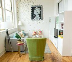 Ruth Allen's New England Home Tour #theeverygirl // great decorating! White walls everywhere but so much fun and brightness to the home!