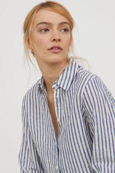 Camicia in lino - Blu/bianco righe - DONNA   H&M IT 1