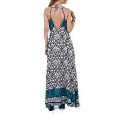 Vestido largo estampado tonos azules