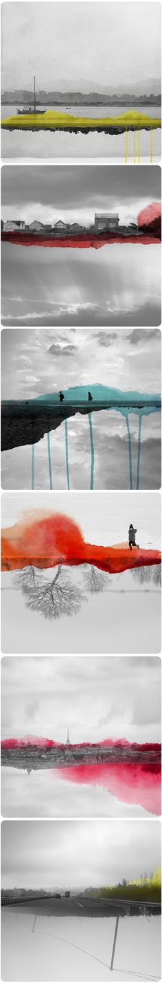 watercolors on black and white black and white colorful art cool abstract weird