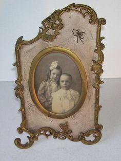 Art Nouveau Black and White Photo Picture Frame with Spider