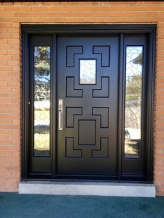 Remarkably unique #AmberwoodDoors handmade, custom made mahogany single #door with 2 sidelights; rich Black stain; Crackle lead glass design; handsome @emtekassaabloy Melrose lockset in Satin Nickel. Call or come into Amberwood's outstanding showroom today and discover your dream doors! 416-213-8007 #AmberwoodDoors proudly ships #worldwide! Call today for shipping details! 1-800-861-3591 #IHaveThisThingWithDoors #CurbAppeal