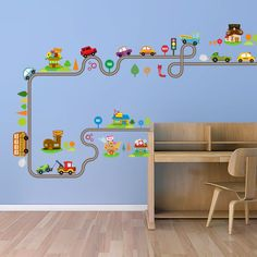 Decorating your Home - Highway car wall stickers .- Decorating your Home – Highway car wall stic. Green Wall Stickers, Wall Stickers Cartoon, Kids Room Wall Stickers, Removable Wall Stickers, Wall Stickers Murals, Playroom Decor, Nursery Room Decor, Wall Art Decor, Bedroom Wall