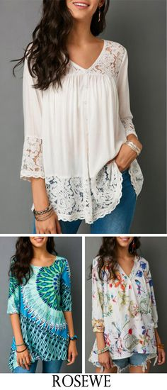 Button Up V Neck Lace Patchwork White Blouse.#Rosewe#top ensfashion#top