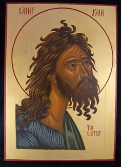 Grace Zazzaro - Fine artist, expert at painting icons of saints. Specializing in classical egg tempera medium, gold gilding and design; Athella Icon Studio is located in Mystic, CT Religious Pictures, Religious Icons, Religious Art, Byzantine Icons, Byzantine Art, Greek Icons, Church Icon, Paint Icon, John The Baptist