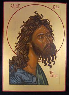 St John the Baptist  9x12 Egg tempera, 23k gold leaf  on wooden Board