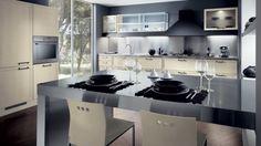 isla de cocina con laminado de varios colores