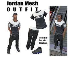 Jordan Outfit Standart 5 sizes Jeans,T-shirt,Sneakers Resizeable + Alphas