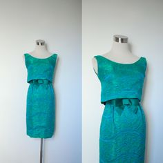 1960s Cocktail Dress / 60s Green and Blue Brocade Dress / Wiggle (XS extra small). $120.00, via Etsy.