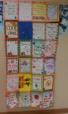 Bullying Idea - Bully free zone student made paper quilt.  This could be a neat display of current Bible class lesson topics for children's ministry.