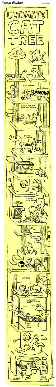 Ultimate Cat Tree Cartoon | Savage Chickens - Cartoons on Sticky Notes by Doug Savage