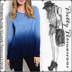 "LAST ONE NWT Long Sleeve Ombré Top Size: Medium   Available in sizes: S/M/L (Only 1 left in each size - see separate listings)  Measurements taken in inches from a size small:  Length: 34""  Bust: 36""  Waist: 40""  Features:  • long sleeve  • pull over design • relaxed fit • soft material  • stunning blue ombré coloring  • bottom hemline drapes longer on sides  Fabric Content: 95% RAYON 5% SPANDEX   Bundle discounts available No trades or pp Pretty Persuasions Tops"