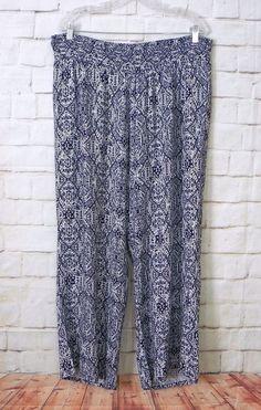 Womens Plus DRESSBARN Blue White Ikat Elastic Waist Casual Palazzo Pants Size 2X #dressbarn #CasualPants