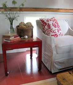 Sarah Richardson | Design Inc. | Ruth Pigsty | white slip cover chair and red table vignette
