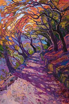 Mosaic path colorful oil painting by modern impressionist painter Erin Hanson - - Mosaic path colorful oil painting by modern impressionist painter Erin Hanson Malerei Impressionist Paintings, Art Paintings, Impressionist Landscape, Abstract Paintings, Paintings Of Trees, Modern Oil Painting, Indian Paintings, Contemporary Paintings, Painting Art
