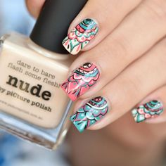 NAIL ART MANDALA ~ with Picture Polish 'Nude', 'Marine' and 'Coral Reef' ~ video tutorial by Nail Art Sakura