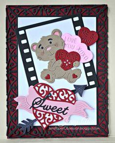 Sweetheart by Jenny Alia  Cheery Lynn Designs dies used:   Cheery Lynn Dies Be Mine Teddy Bear B674 (New) Film Set B673 (New) Sweetheart Candy B675 (New) Sweet B679 (New) Heart & Arrow B530 Deutschland Boutique Stacker A2 DL294