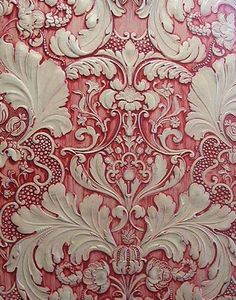 "This is a beautiful way to deal with textured wallpaper.""To achieve this effect on anaglypta wallpaper, use water based paints and apply red paint to a white acrylic primer based coat. Drag and wipe to create cream highlight coat. Anaglypta Wallpaper, Embossed Wallpaper, Pink Wallpaper, Textured Wallpaper, Textured Walls, Tapestry Wallpaper, Unusual Wallpaper, Wallpaper Stores, Beautiful Wallpaper"