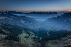 """foggy sunrise from alpine chalet spitzmeilen. in the foreground you see the valley """"schilstal"""" in the backround the peaks of the """"churfirsten"""" Alpine Chalet, Dawn, Sunrise, Mountains, Nature, Travel, Naturaleza, Viajes, Destinations"""
