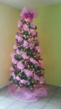 A breast cancer awareness christmas tree in the loving memory of my sister.