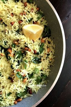 Nutty Lemon Rice RecipeYou can find Rice recipes indian and more on our website. Healthy Pasta Recipes, Vegetarian Recipes, Cooking Recipes, Jain Recipes, Indian Food Recipes, Rice Dishes, Food Dishes, Greek Lemon Rice Soup, Couscous
