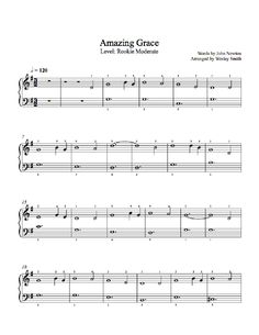 Amazing Grace by Traditional Piano Sheet Music   Rookie Level