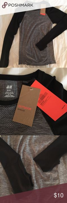 H&M quick dry, long sleeve athletic shirt. NWT black and grey, quick dry top from H&M. H&M Tops