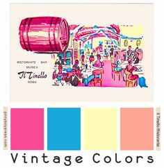 Here is a springtime Vintage Color Palette inspired from a postcard for a restaurant in Rome, Italy. This postcard looks to be from around. Vintage Colour Palette, Colour Pallette, Vintage Colors, Colour Schemes, Color Combos, Hex Codes, Hex Color Codes, Zine, Deco