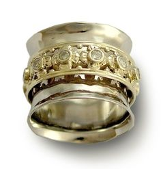 Diamonds wedding band - Wide sterling silver meditation band with gold spinner and diamonds