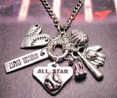 Baseball All star charm holder Pendant  necklace. $19.00, via Etsy.  Love this!