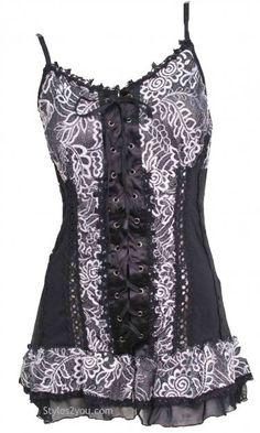 AP Adeline Corset Camisole In Black & White :