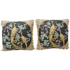 Lavender + Pair of Large Vintage Linen Bird Pillows  From a unique collection of antique and modern pillows and throws at https://www.1stdibs.com/furniture/more-furniture-collectibles/pillows-throws/