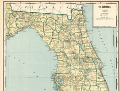 1931 Antique FLORIDA State Map Vintage Large Map of Florida Poster Size Gallery Wall Art Wedding Gift for Birthday Anniversary 11587 by plaindealing on Etsy