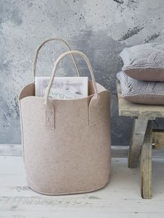 Blush Pink Felt Basket - Perfect for storing just about anything. #Home #Decor