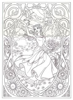 Belle beauty and the beast colouring page - very intricate - for older children and adults