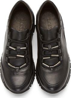 Lanvin: Black Leather Runner Sneakers | SSENSE