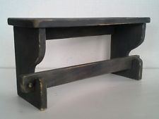Primitive Country Farmhouse Aged Wood Black Distressed Paper Towel Holder Shelf