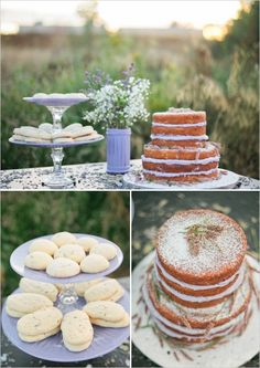 lavender cake table Gift Baskets For Men, Themed Gift Baskets, Raffle Baskets, Lavender Crafts, Lavender Cake, Towel Cakes, Country Style Wedding, Rustic Cake, Unique Cakes