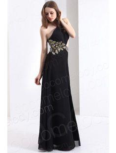 One Shoulder  Black Evening Dress