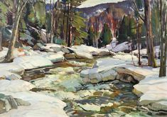 """Open Stream,"" also known as ""Brook in Winter, Jeffersonville, Vermont,"" Aldro Thompson Hibbard, Oil on canvas, 28 x 40"", private collection."