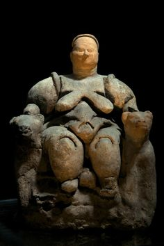 This sculpture of the mother-goddess Kybele was found at Catalhoyuk, Turkey. 6000 BC