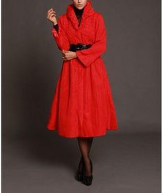 Jerry T Womens Long Red Coat Dress 1X 18 20 SR 3427