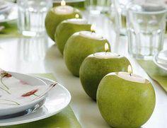 manzanas como portavelas
