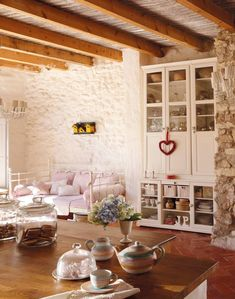Roses and Rust: Rustic Elegance Home Interior Design, Interior And Exterior, Interior Decorating, Ikea Fans, White Brick Houses, Mediterranean Style Homes, Family Room Design, Rustic Elegance, Rustic Charm
