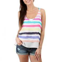 Racerback Multi Stripe Tank - Perfect top for a summer concert!