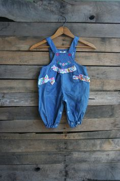 Vintage Children's Blue & Floral Romper by Cuties by by vintapod