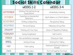 This school year, I'll be running a social skills group at my work! I wanted a basic outline of topics to hopefully target each week. I decided that most of the time, things are too difficult to ta. Free Baseline assessment for your child Social Skills Lessons, Social Skills Activities, Teaching Social Skills, Counseling Activities, Social Emotional Learning, Coping Skills, Therapy Activities, Life Skills, Teaching Plan